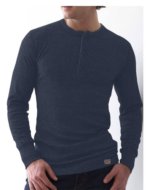 MEN'S WOOL SHIRT - MERINO/POLY BLEND - 2 LAYER HENLEY