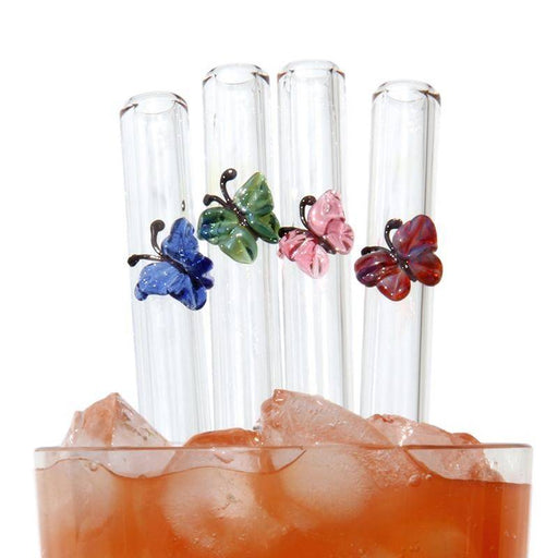 Butterfly Reusable Glass Drinking Straws Combo Pack