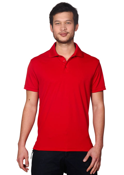 Mens Flat Knit Collar Performance Piqué Polo Shirt