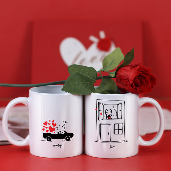 Couple Mugs Set, 15 Backgrounds for choosing - Take You For A Ride