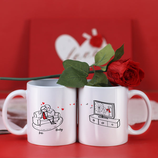 Couple Mugs Set, 15 Backgrounds for choosing - Watch TV