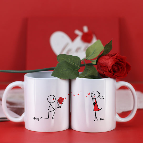 Couple Mugs Set, 15 Backgrounds for choosing - Propose