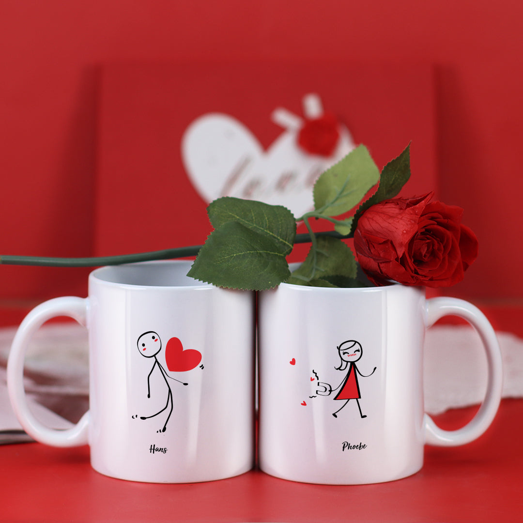Couple Mugs Set, 15 Backgrounds for choosing - Give you love
