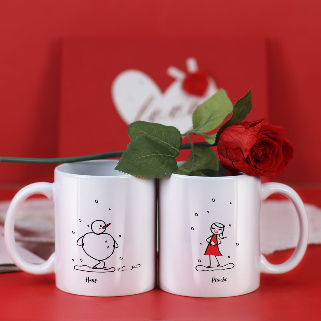 Couple Mugs Set, 15 Backgrounds for choosing - Make A Snowman