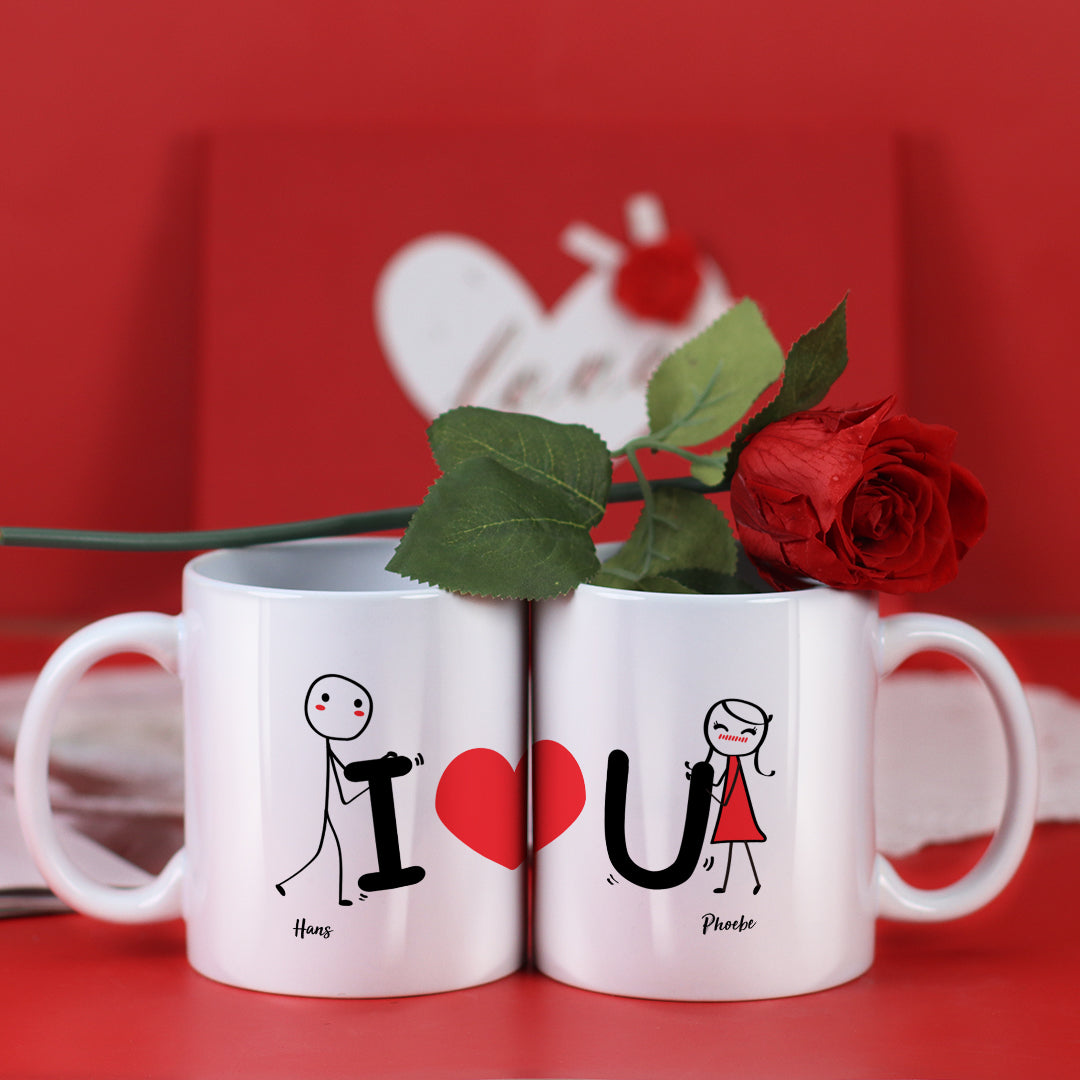 Couple Mugs Set, 15 Backgrounds for choosing - I Love You