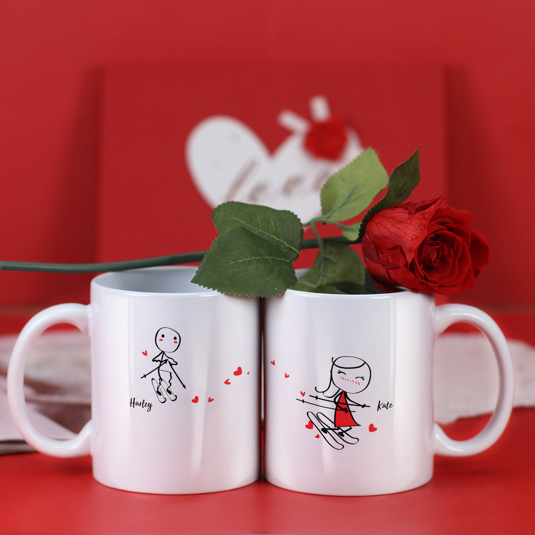 Couple Mugs Set, 15 Backgrounds for choosing - Ski