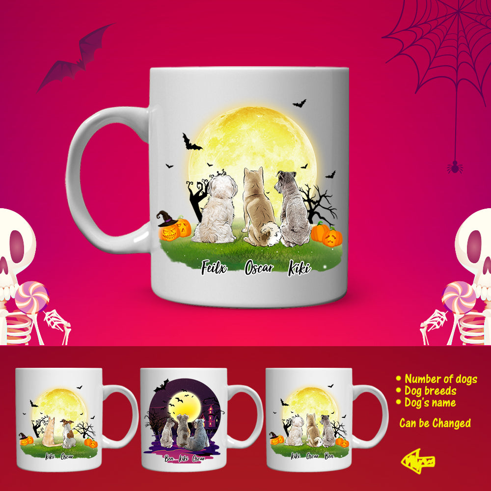 Personalized Dog Coffee Mug Or Dog Friends(PRINT ON BOTH SIDES) -  Halloween