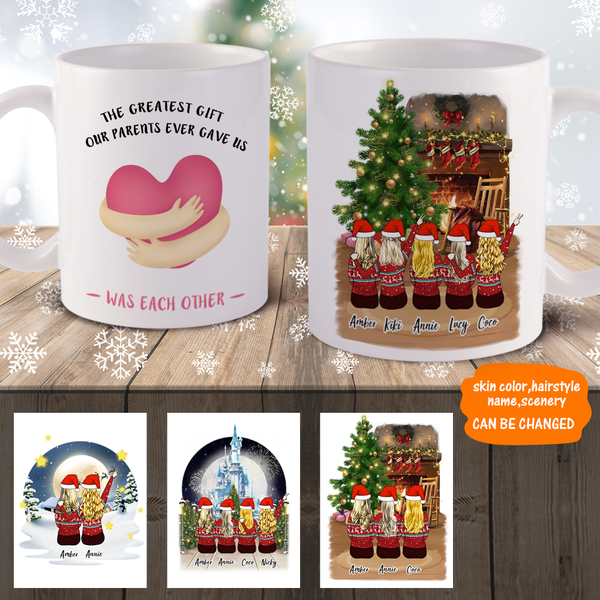 Personalized Sister Mugs Up To 5 Girls -  Christmas