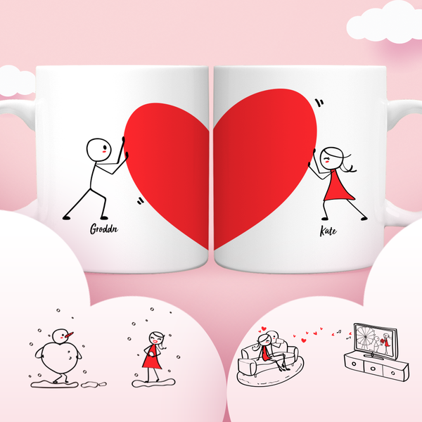 Valentine's Day Couple Mugs Set, 15 Backgrounds for choosing