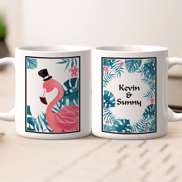 Personalized Name Couple Mug - Flamingo