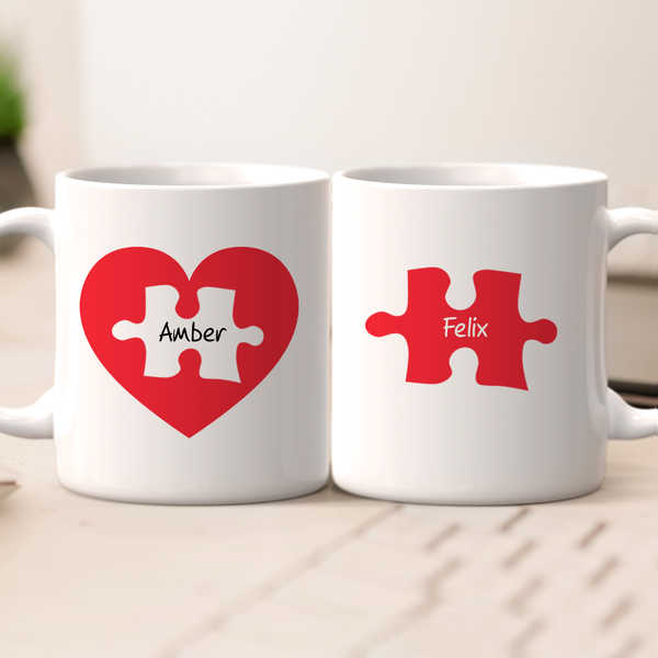 Personalized Name Couples Mug Set - Love Jigsaw