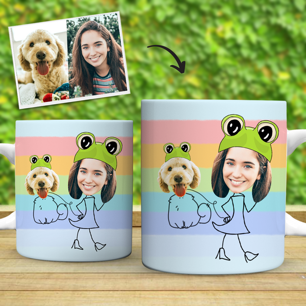 Custom Mugs Custom Photo Mugs with Dog And Owner Photo Mugs Set Gift for Pet Lover