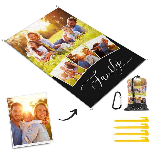 Custom Multiphoto Picnic Blanket Warm Family Mat Picnic Blanket
