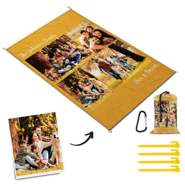 Picnic Blanket Custom Mat with Text Outdoor Mat Gift for Family