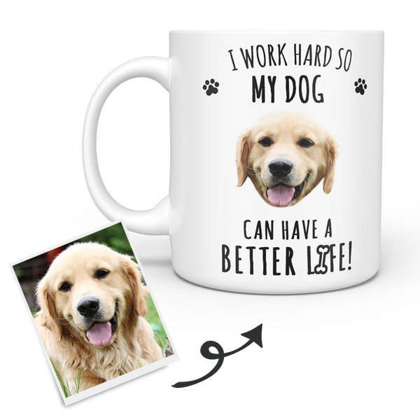 White Personalized Dog Face Mug