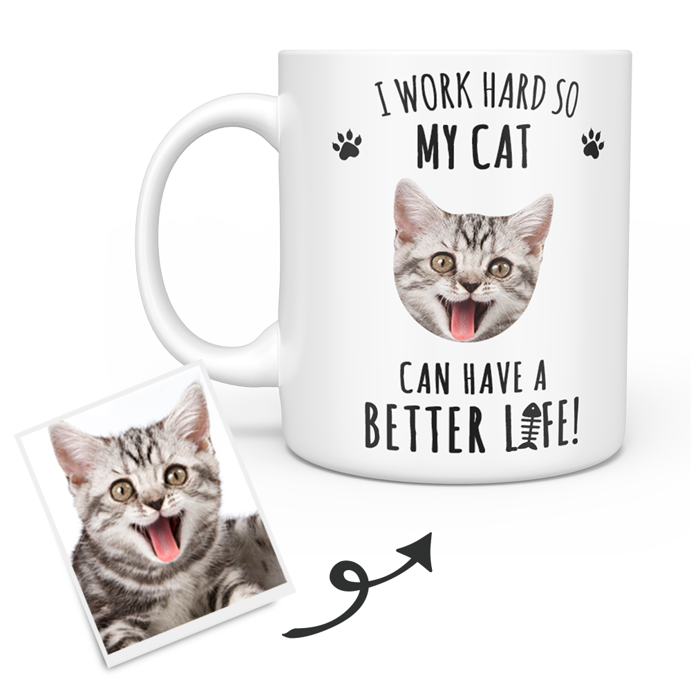 White Personalized Cat Face Mug