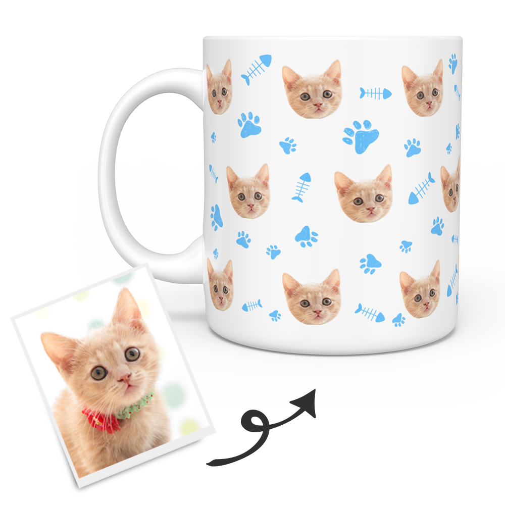 Personalized Mug With Cat Photo - Custom Cat Face Coffee Mug