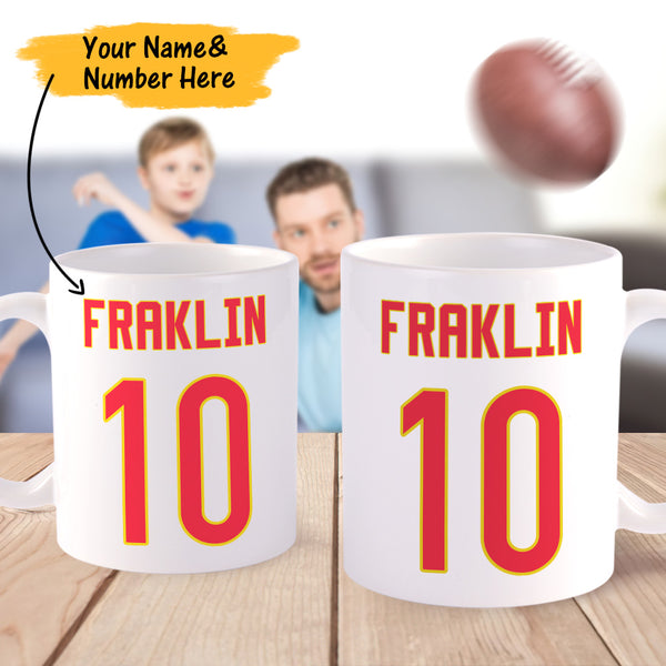 Personalized Football Super Bowl Uniform Coffee Mug for Men for Boys for Dad for Son