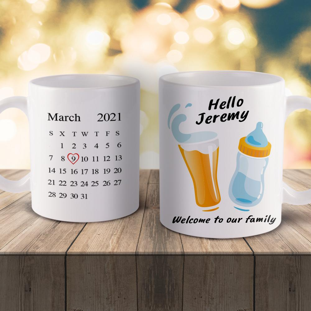 Father's Day Gift Custom Calendar Mug-Beer and Bottle Baby Funny Mug-Best Gift Idea For Family.