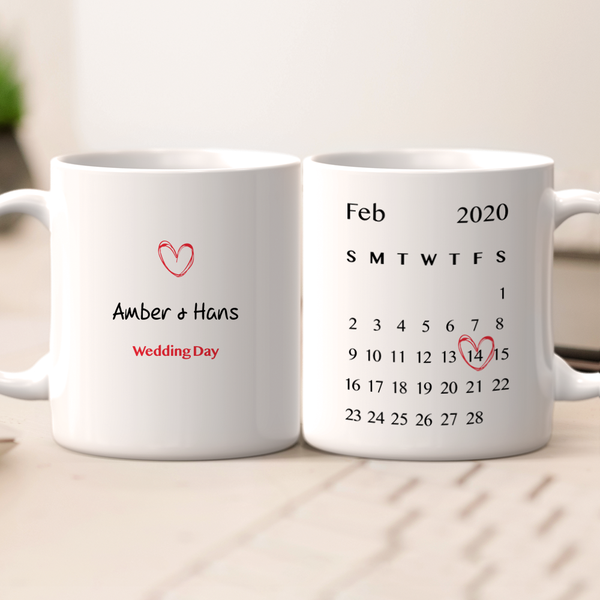 Personalized Wedding Anniversary Mug - Customize Your Name And Date