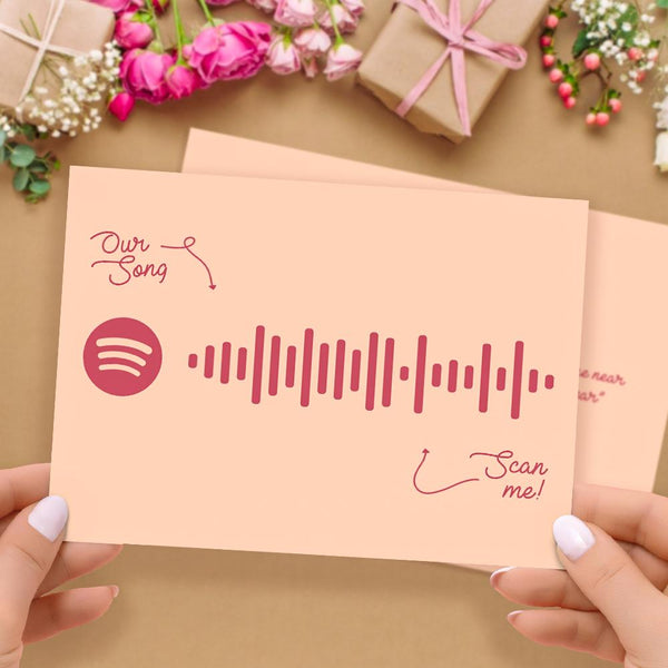 Custom Spotify Code Music Greeting Card with Our Song Custom Word Card