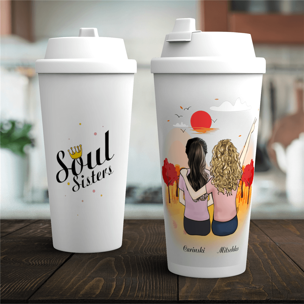 Personalized Coffee Tumbler / Tea Insulation cup - Best Friend Friendship Cups (Online Design & Preview)