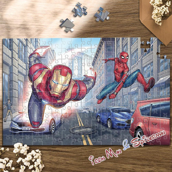 Jigsaw Puzzle Disney Funny Story-Iron Man & Spiderman-35-1000 pcs