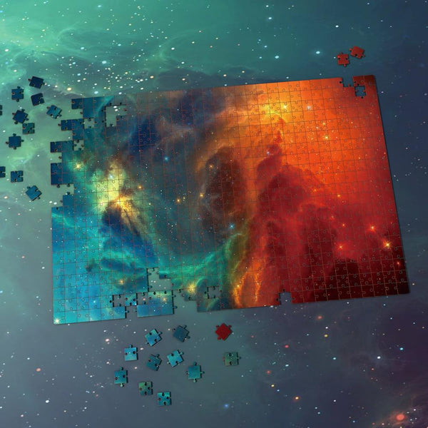 Space Shuttle Jigsaw Puzzle Best Gifts For Family And Friends - Green And Fire Red Nebula