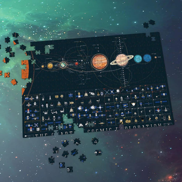 Space Jigsaw Puzzle 1000 Pieces For Adults And Kids - Eight Planets And Mechanical Parts of Space Probe