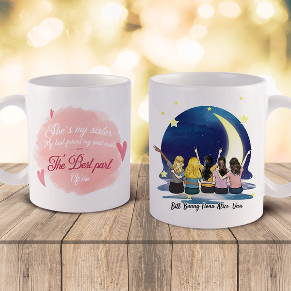 Personalized Sister Mugs-Up To 5 Girls-Night sky Dream & Wish (new)