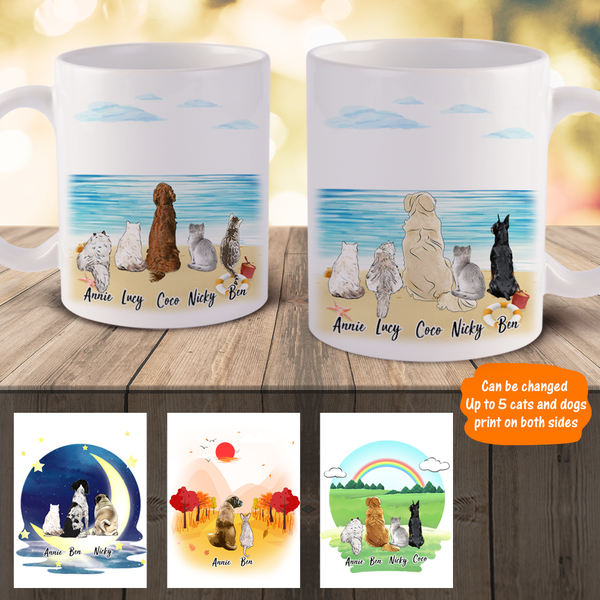 Personalized Pet Coffee Mugs - Cat&Dog Together