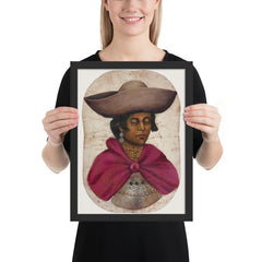 Framed poster of Quechua indian woman oil painting