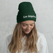 Load image into Gallery viewer, Los Angeles Text White, Unisex Cuffed Beanie