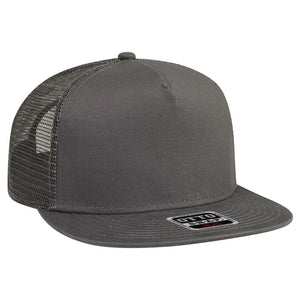 Ohio Text Red 3D Puff, Mesh Back Snapback Hat CHARCOAL GRAY