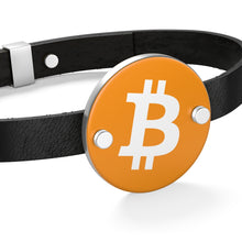 Load image into Gallery viewer, Bitcoin Leather Bracelet