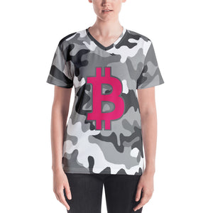 Bitcoin BTC Symbol Hot Pink, Women's V-neck T-shirt Camouflage