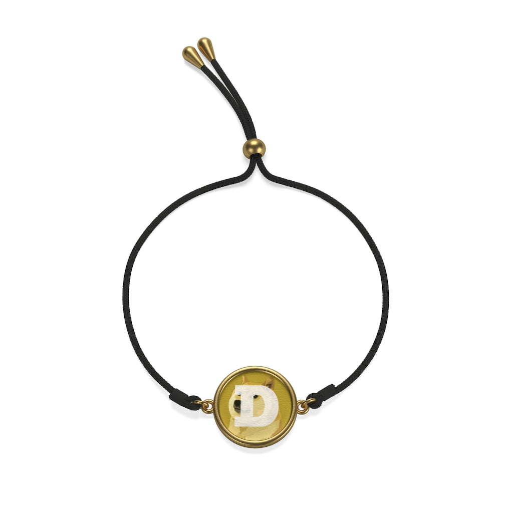 Dogecoin Cryptocurrency Logo Coin Cord Bracelet