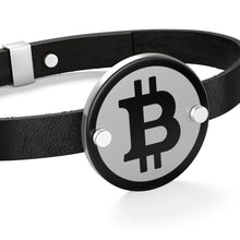 Load image into Gallery viewer, Bitcoin Logo Leather Coin Bracelet