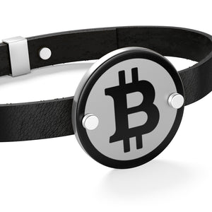Bitcoin Logo Leather Coin Bracelet