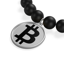 Load image into Gallery viewer, Black Bitcoin Logo, Matte Onyx Bracelet