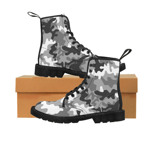 Gray Camouflage Pattern Women's Canvas Martin Style Boots