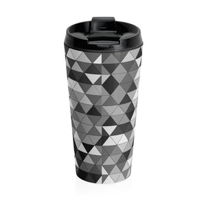 Gray Triangle Pattern, Stainless Steel Travel Mug