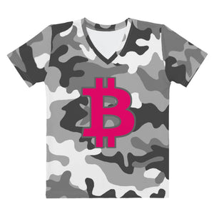 Bitcoin BTC Symbol 09 Hot Pink, Women's V-neck T-shirt Camouflage