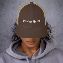 Load image into Gallery viewer, Trucker Queen Text White, Retro Trucker Cap