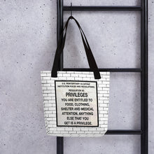Load image into Gallery viewer, Alcatraz Prison Rules Regulation Nr 5 Brick Wall Sign, Tote bag