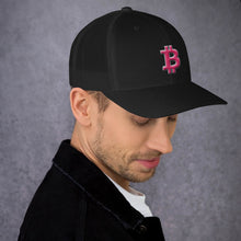 Load image into Gallery viewer, Bitcoin BTC Symbol Hot Pink, Retro Trucker Cap
