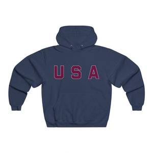 USA Text Maroon, Men's NUBLEND® Hooded Sweatshirt