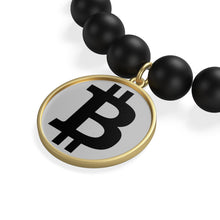 Load image into Gallery viewer, Black Bitcoin Logo, Matte Onyx Bracelet Gold