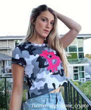 Load image into Gallery viewer, Bitcoin BTC Symbol Hot Pink, Crop Tee Gray Camouflage