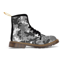 Load image into Gallery viewer, Gray Camouflage Pattern, Women's Canvas Martin Style Boots